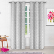 Vera Collection Two Grommet Window Curtain: Diamond design, 84 IN Length (Silver Gray)