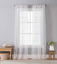 Set of Two (2) Off-White Sheer Window Curtain Panels Floral Design, Rod Pockets 96 IN long