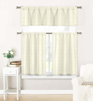 3 PC Window Curtain Set: Semi Sheer, Plaid Check Design 1 Valance 2 Tiers (Off-White)