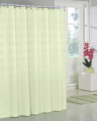 "Ivory/Off White Jacquard Fabric Shower Curtain: Geometric Design, 70""W x 72""L"