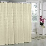 "Sand Colored Jacquard Fabric Shower Curtain: Geometric Design, 70""W x 72""L"