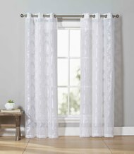 Linen Blend Sheer Off White Grommet Window Curtain Panel Pair with Taupe Leaf Design 84in Long