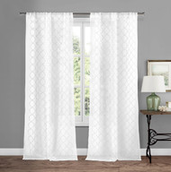 "Sheer Pure White Rod Pocket Window Curtain Panel Pair with Embroidered White Trellis Design, 84"" L"
