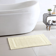100% Cotton Hotel Step out Bath Mat Ivory 17 in X 24 in (Ivory)
