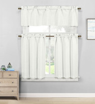 Kensie Home Jane Textured Kitchen Curtains: Subtle Pinstripe with Sequin Accents (Cream White)