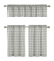 3 Piece Cotton Rich Small Kitchen Window Set: Gingham Check Design, One Valance, Two Tiers 24 IN Long (Gray and White)