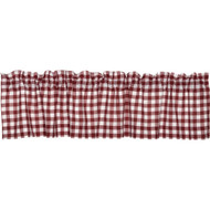 "Cotton Rich Small Kitchen Window Valance: Gingham Check Design, Rod Pocket, One Valance 56"" Wide x 15"" Long (Burgundy and White)"