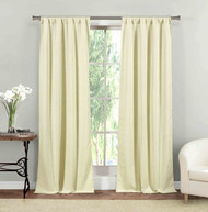 "Rod Pocket Window Curtain Panel Pair Textured Linen Look 84"" Length"