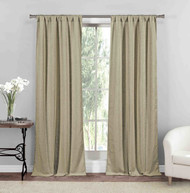 "2 Pc. Rod Pocket Window Curtain Panel Pair Textured Linen Look 84"", Sesame"