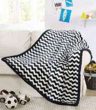 "Ultra Soft Reversible Sherpa Plush Fleece Throw Blanket Chevron Design, 50"" x 60"", Navy"