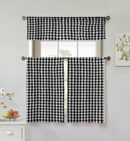 Home Maison Collection 3 Piece Small Window Curtain Set: Buffalo Check Design, One Valance, Two Tiers 36 IN Long 100% Cotton (Black and White)