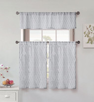 Vera Neumann Collection 3 Piece Small Window Curtain Set: Leaf Design, One Valance, Two Tiers 36 IN Long, 100% Cotton (Gray and White)