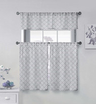Vera Neumann Collection Gray and White 3 Piece Small Window Curtain Set Geometric Medallion Design, One Valance, Two Tiers 36 IN Long 100% Cotton