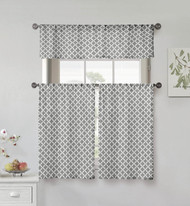 Kensie Home collection 3 Piece Small Window Curtain Set Moroccan Tile Design One Valance, Two Tiers 36 IN Long 100% Cotton (Gray and White)