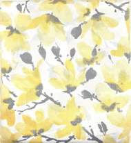 Vera Neumann Collection Gray Yellow White Floral Print Fabric Shower Curtain 72IN x72 IN Cotton Blend