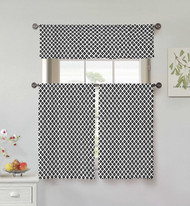 Vera Neumann Collection 3 Piece Small Window Curtain Set Diamond Design, One Valance, Two Tiers 36 IN Long 100% Cotton (White and Black)