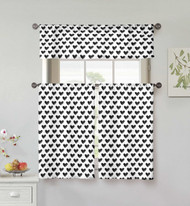 Kensie Home collection 3 Piece Small Window Curtain Set: Heart Design, One Valance, Two Tiers 36 IN Long, 100% Cotton (Black and White)