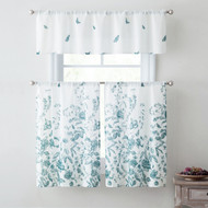 Blue and White 3 Piece Window Curtain Set Floral Design, One Valance, Two Tiers 36 IN Long