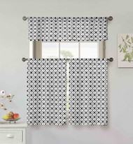 Vera Neumann Collection 3 Piece Small Window Curtain Set: Flower & Vine Design, One Valance, Two Tiers 36 IN Long, 100% Cotton (Black and White)