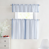 3 Piece Window Curtain Set 100% Cotton Stripe Design, One Valance, Two Tiers 36 IN Long (Blue and White)