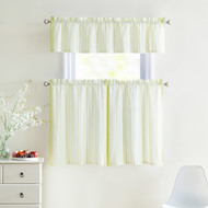 3 Piece Window Curtain Set 100% Cotton Stripe Design, One Valance, Two Tiers 36 IN Long (Light Green and White)