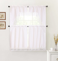 White 4 Piece Kitchen Window Curtain Set: Macrame Border, 2 Swag and 2 Tier Panels