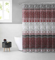 Victoria Classics White Burgundy and Gray PEVA Shower Curtain Liner Odorless, PVC and Chlorine Free, Biodegradable, Mildew Free, Eco-Friendly Size 72in x 72in (Royalty Red & Gray)