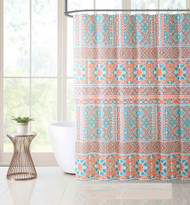 Victoria Classics White Teal and Coral PEVA Shower Curtain Liner Odorless, PVC and Chlorine Free, Biodegradable, Mildew Free, Eco-Friendly Size 72in x 72in (Madrid Coral)