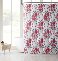 Victoria Classics White Red and Gray Floral Design PEVA Shower Curtain Liner Odorless, PVC and Chlorine Free, Biodegradable, Mildew Free, Eco-Friendly Size 72in x 72in (Astor Red)