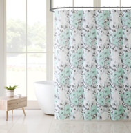 Victoria Classics White Aqua and Gray Floral Design PEVA Shower Curtain Liner Odorless, PVC and Chlorine Free, Biodegradable, Mildew Free, Eco-Friendly Size 72in x 72in (Astor Aqua)