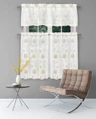 3 Piece Window Curtain Set with Embroidered Metallic Floral Design, One Valance, Two Tiers 36 IN Long (Beige-Taupe)