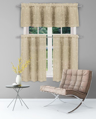 "Home Maison Sheer 3 Piece Window Curtain Set with Metallic Leaves and Branches Design, One Valance, Two Tiers 36"" l, Kitchen, Bathroom, Small Window (Taupe-Gold)"