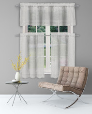 "Sheer 3 Piece Window Curtain Set with Metallic Leaves and Branches Design, One Valance, Two Tiers 36"" l, Kitchen, Bathroom, Small Window (Grey-Silver)"