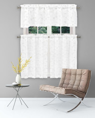 Home Maison Sheer 3 Piece Window Curtain Set with Embroidered Metallic Leaves and Branches Design, One Valance, Two Tiers 36 IN Long, Kitchen, Bathroom, Small Window (White-White)