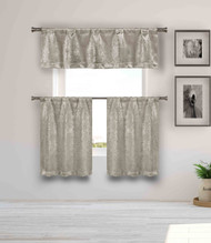 Blackout Energy Saving Taupe 3 Piece Window Curtain Set with Silver Metallic Design, One Valance, Two Tiers 36 IN Long Kitchen, Bathroom, Small Window, Motor Home, Boat (Taupe)