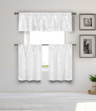Blackout Energy Saving White 3 Piece Window Curtain Set with Silver Metallic Design, One Valance, Two Tiers 36 IN Long Kitchen, Bathroom, Small Window, Motor Home, Boat (White)