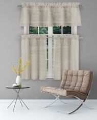 Sheer 3 Piece Window Curtain Set with 3D Small Soft Tufts Design, One Valance, Two Tiers 36 IN Long Kitchen, Bathroom, Small Window (Taupe)