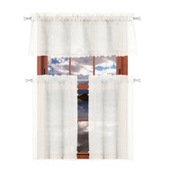 Duck River Textiles Sheer 3 Piece Window Curtain Set with 3D Small Soft Tufts Design, One Valance, Two Tiers 36 IN Long Kitchen, Bathroom, Small Window (Off White)