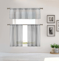 Home Maison Sheer 3 Piece Window Curtain Set with Embroidered Metallic Moroccan Trellis Design, One Valance, Two Tiers 36 IN Long Kitchen, Bathroom, Small Window (Silver Gray)
