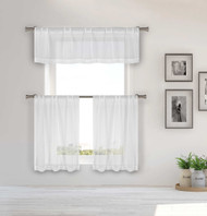 Pure White Sheer 3 Piece Window Curtain Set Small Circle Silver Metallic Design, One Valance, Two Tiers 36 IN Long