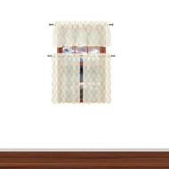 3 Piece Window Curtain Set with Embroidered Metallic Diamond Trellis Design, One Valance, Two Tiers 36 IN Long (Taupe)
