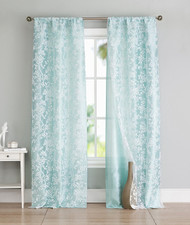 Set of Two (2) Spa Blue and White Cotton Blend Window Curtain Panels: Bird and Tree Branch Burnout Design, Double Layer, 84L