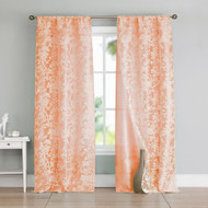 Set of Two (2) Peach and White Cotton Blend Window Curtain Panels: Bird and Tree Branch Burnout Design, Double Layer, 84L