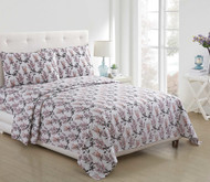 4 Piece Bed Sheet Set White Coral Gray Floral Design (Queen)