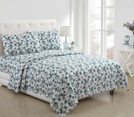 4 Piece Bed Sheet Set White Aqua Teal and Gray Floral Design (Full)