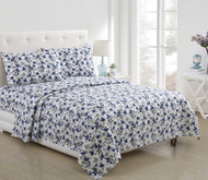 VCNY Home 4 Piece Bed Sheet Set White Blue Gray Floral Design (Queen)