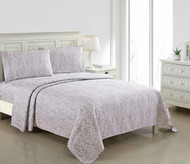 4 Piece Bed Sheet Set Taupe and White Paisley Design (Queen)