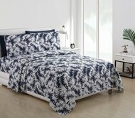 4 Piece Bed Sheet Set Navy and White Beach House Palm Fern Leaves Design (Full)