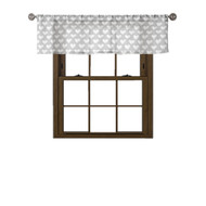 Bathroom and More Collection: 100% Cotton: Window Curtain Valance, Gray and White Heart Design, 58W x 15L