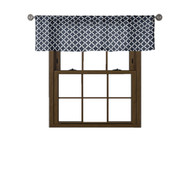 Bathroom and More Collection Navy & White 100% Cotton Window Curtain Valance: Moroccan Tile Design 58in W x 15in L,